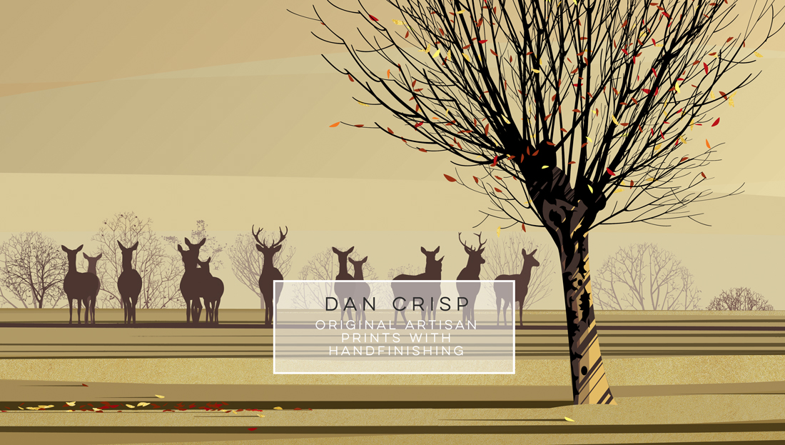Dan Crisp original artisan prints with hand finishing Dan's entirely hand created and unique style of digital painting is a  contemporary response to the vast and varied influences of the British  landscape.  Born in Beverley in the East Riding of Yorkshire, Dan studied Fine Art and  Illustration becoming an accomplished painter and successful illustrator.   For many years he illustrated for advertising agencies at the highly respected Northern Art Studios in Manchester and then turned his attention to book  illustration.  He has illustrated over 70 books and written many more, working for many of the UK's leading publishers as well as clients in America, Australia and South Korea. Dan's landscapes are a personal body of work.  Each composition is built up  in layers of remarkable detail creating a depth and atmosphere which connects with the viewer. The juxtaposition of intense colour and bold design does not simply copy nature but is a sophisticated and modern interpretation of the natural world and the effect of light on it.  Dan's artistic talent and creative imagination are embodied in these tranquil and refreshing paintings.