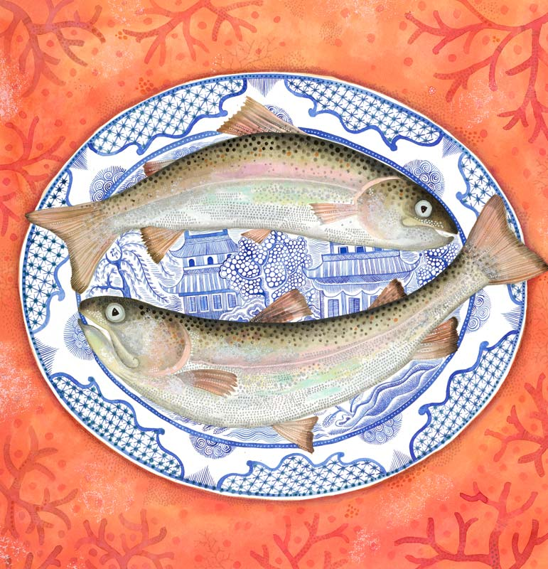 Jane Ray - Trout & Willow Pattern - Limited Edition Print