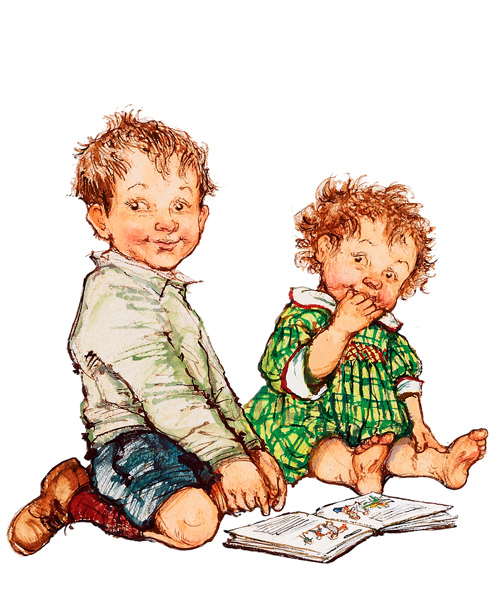 Shirley Hughes - Alfie & Annie Rose Reading - Signed Limited Edition Print