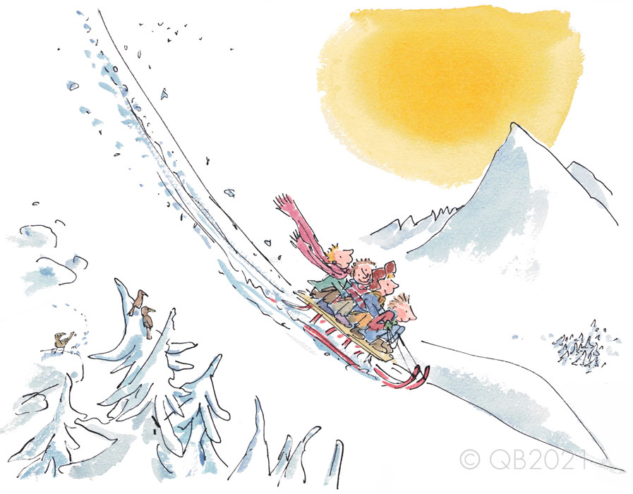 QB9072-Quentin-Blake-Let's-see-how-fast-our-sledge-will-go-Collectors-Edition-Print
