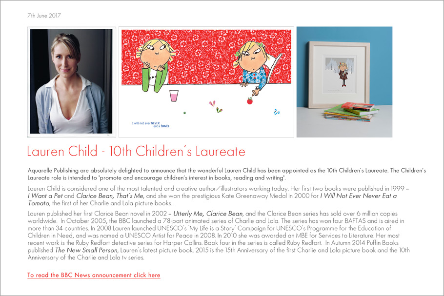 Lauren Child 10th Children's Lareate
